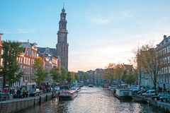 City scenic from Amsterdam with the Westerkerk in the Netherland. S Stock Image