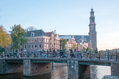 City scenic from Amsterdam with the Westerkerk in Netherland. City scenic from Amsterdam with the Westerkerk in the Netherlands Royalty Free Stock Images