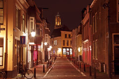 City scenic from Utrecht in the Netherlands with the Dom tower. By night Royalty Free Stock Image