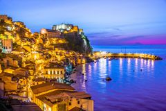 The city of Scilla in the Province of Reggio Calabria, Italy.  royalty free stock images