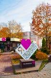 City sculptural art object I love Veliky Novgorod in the street in Veliky Novgorod, Russia - autumn city view. Veliky Novgorod, Russia - October 18, 2018. City royalty free stock image
