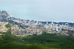 City by the Sea. The city on the coast between the mountains to the fores Royalty Free Stock Images
