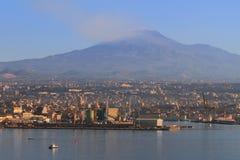 City, sea port, volcano. Etna, Catania, Sicily, Italy Royalty Free Stock Image