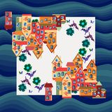 City by the sea. Silk neck scarf or bandana print. Royalty Free Stock Images