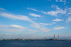 City and sea and sky. Sea and  blue skyline - japan nagoya port distant view Royalty Free Stock Images