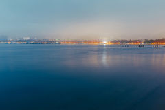 City By The Sea At Sunset In Fog On Background Of Harbor. Evening Landscape. Gelendzhik, Russia Royalty Free Stock Images