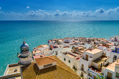 City and sea view. View over the town of Peníscola in the region of Valencia, Spain royalty free stock image