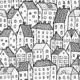 City seamless pattern in balck and white vector illustration