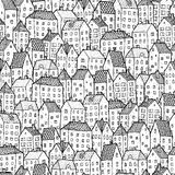 City seamless pattern in balck and white Stock Photo