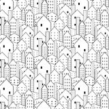 City seamless pattern in black and white is repetitive texture. Vector Illustration vector illustration