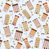 City seamless pattern with buildings Stock Photography