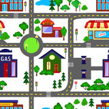 City seamless pattern. In colors with trees is repetitive texture with hand drawn houses. Illustration is in vector mode Stock Image