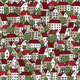 City seamless pattern in colours with trees Stock Photo