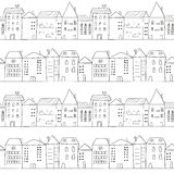 City seamless pattern. Doodle houses. Royalty Free Stock Images