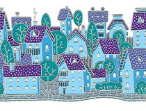 City seamless pattern with houses and roofs Royalty Free Stock Images