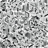 City Seamless Pattern Isometric Stock Photos