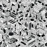 City Seamless Pattern Isometric - Large Stock Photos