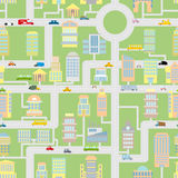 City seamless pattern. Modern metropolis with buildings, cars an. D machines. Cartoonish background of Skyscrapers and office buildings. Urban texture of Stock Photography