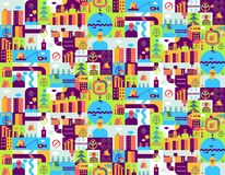 City seamless pattern. Place map texture. Town background. Road. And street. House and buildings. River and lake Stock Photography