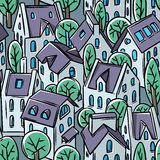 City seamless pattern with roofs Royalty Free Stock Images