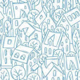 City seamless pattern with roofs stock illustration