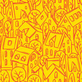 City seamless pattern with roofs Royalty Free Stock Image