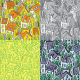 City seamless pattern with roofs Stock Photos