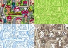 City seamless pattern set Stock Photo