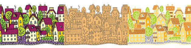 City seamless pattern set with houses and roofs Stock Photos