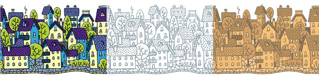 City seamless pattern set with houses and roofs Stock Photography