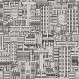 City seamless pattern. Vector background of buildings and skyscr Stock Photo