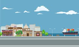 City on seaside landscape with cargo ship on the sea. Illustrated vector stock illustration