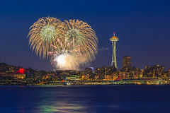 City of Seattle and Fireworks. Seattle skyline and Space Needle with fireworks royalty free stock photography