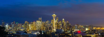 City of Seattle WA during Evening Blue Hour Panorama USA Stock Image