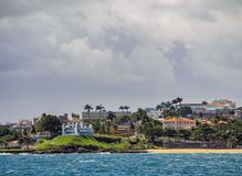 Salvador da Bahia, Brazil. City seen from the Bay of All Saints, Salvador, State of Bahia, Brazil stock photography