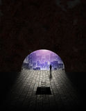 City seen from tunnel. Opening royalty free illustration