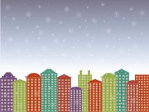 City series background. Colorful buildings, blues cloudy sky, snow, winter in the town, vector Stock Photography