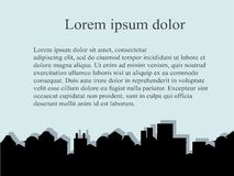 City series background. Outline black buildings on light blue, Lorem ipsum, vector Stock Image