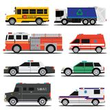 City service cars. Flat city service cars, policem ambulance, fire engine, school bus, garbage truck Royalty Free Stock Photos