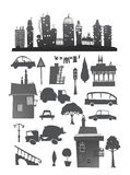 City set with buildings, cars and signs Stock Photos