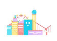 The city set colour. Illustration with urbanized city and its architecture Royalty Free Stock Image