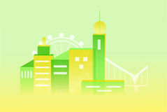The city set green. Illustration with urbanized city and its architecture Royalty Free Stock Photo