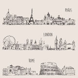 City Set London, Paris, Rome Engraved Illustration Stock Image