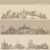 City set New york, Berlin, Barcelona vintage engraved illustration Royalty Free Stock Photo