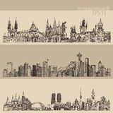 City Set Prague, Toronto, Seattle Vintage Engraved Stock Photography