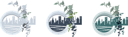 City. Set of round icons with a townscape Stock Image