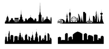 City. Set silhouettes various cities royalty free illustration