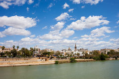 City of Seville and Guadalquivir River in Spain stock images
