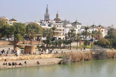 Seville, Spain, spring along the river Guadalquivir Royalty Free Stock Image