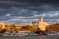 City of Seville at Sunset stock photo